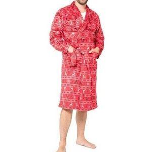 Men's Christmas Red Reindeer Plush Winter Robe